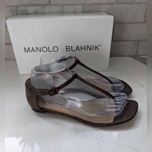 Manolo Blahnik brown flat sandals